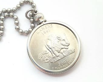 Kansas State Quarter Coin Necklace with Stainless Steel Ball Chain or Key-chain - 2005 - Bison - Buffalo