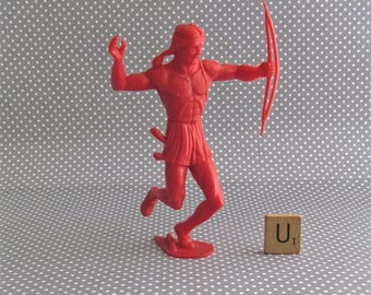 Vintage MPC  5 Inch Plastic Army Men - Red Plastic Native American Indian Figure