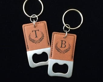 Engraved Bottle Opener Keychain, Personalized bottle opener, laser engraved, monogram, Initial