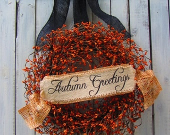 Fall Berry Wreath - Fall Wreath - Autumn Wreath - Front Door Wreath  - Orange Wreath - Rustic Fall Wreath - Thanksgiving Decor