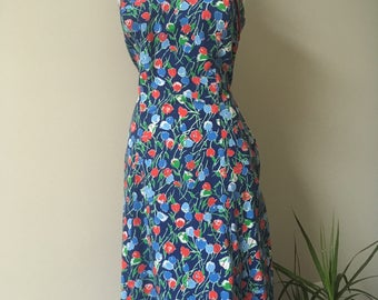 Vintage 1970s Apron Style Sundress with Poppy Print, Clubhouse by Ceeb, Size 12