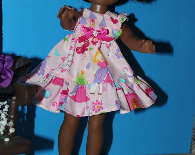 Handmade Princes print Dress, Pink Bow Shoes Included. to fit the wellie wisher and Heart to Heart doll FREE SHIPPING