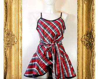 Red & Black Plaid Play Suit