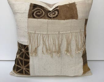 Vintage african fringe mudcloths and Aso-oke collage pillow cover