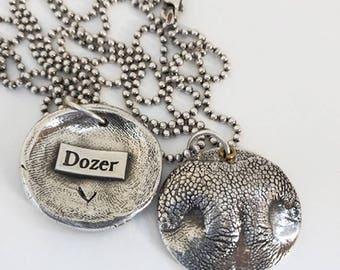 Dog Necklace - Dog Nose Print - Dog Print Necklace - Dog Nose Necklace - Sterling Silver Necklace - Cat Necklace - Pet Memorial Necklace