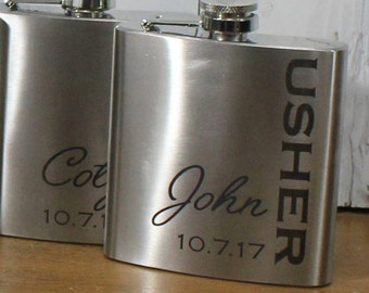 Flask/Engraved/Usher/Best Man/Groom Gift/Groomsmen/Bachelor Party/Father's Day/Flask/Color Choice/Personalized/FL00015