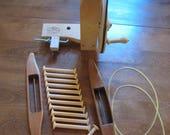 Used Weaving Tools - Schacht Manual Bobbin Winder - Low Profile Leclerc Shuttle - Oak Shuttle - 12 Bobbons - 2 Drive Bands for Winder