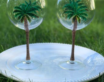 Painted Palm Tree Red Wine Glasses