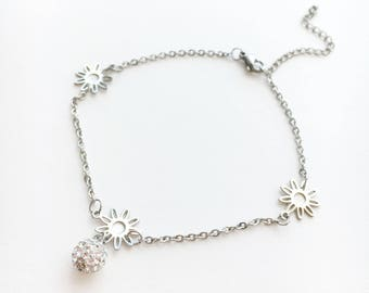 Flower Anklet • Silver Anklet • Flower Jewelry • Ankle Bracelet • Flower Girl Gift • Foot Jewelry • Crystal Anklet • Dainty Anklet | 0072AM