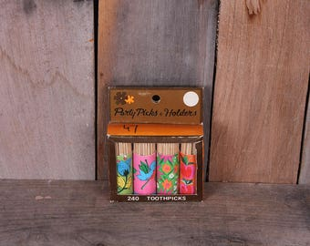 1960's Era Box of Toothpicks in Decorative Floral Sleeves in Original Box Made in Japan Travco Plastics Co., Inc.