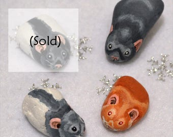 Rat Painted Pebbles - Hand Painted Pebble Pets - Fancy Rat Varieties - Russian Blue/Grey, Grey Hooded and Silver Fawn/Argente