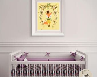 Frankie Fox – a printable fox wall art poster with a beautiful flowered wreath.  Perfect for a hipster, woodland nursery.
