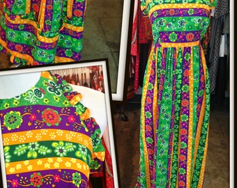 Vintage Hawaii Multi Color Floral Halter Long Maxi Dress Festival Boho FREE SHIPPING