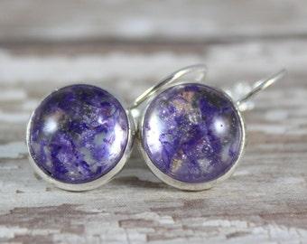 Real Purple Statice Dangle Earrings