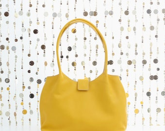 Soft leather tote bag, yellow leather shoulder bag, leather shopper, leather handbag, women bags,soft tote bag, soft leather bag, yellow bag