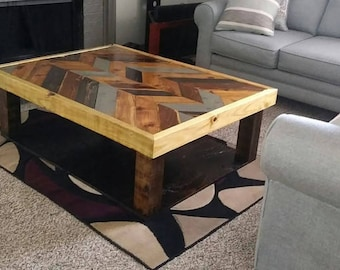 Chevron Table Coffee Table Rustic Coffee Table Reclaimed Wood Coffee Table Livingroom