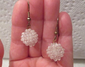 Victorian Estate Piece - Vintage 1920's White Clear Iridescent Tiny Hard PLASTIC BUBBLES BEADED Ball Dangle Earrings - Lightweight - Unique