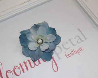 Blue Vintage Flower Clip
