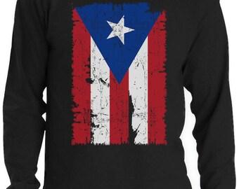 Vintage Distressed Puerto Rico Flag Long Sleeve T-Shirt