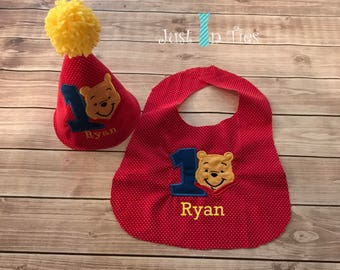 Winnie the Pooh Bear Party Hat and Bib