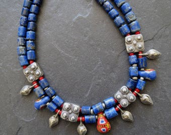 Double Strand Lapis Necklace with African Kiffa Beads & Antique Silver