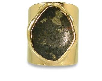 Pyrite Ring, Gemstones Ring, Geometric Ring, Cocktail Ring, 18K Gold Adjustable Wide Band Ring  Gold fashion ring, Statement Pyrite Ring.