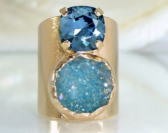 Blue Druzy Ring, Druzy, Gemstone Ring, Double Stone Ring,  Mineral Ring, Statement Ring, 24K Gold Adjustable Wide Band Ring.