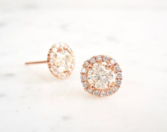 Diamond Halo Stud Earrings, Diamond Earrings, Diamond Studs, EGL Certified, Rose Gold, Halo Earrings, Diamond Stud Earrings