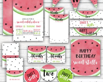 Watermelon Birthday One in a Melon Sweet Celebration Watermelon Party Melon Birthday, Pink and Green Girl's Birthday Printable Party Package