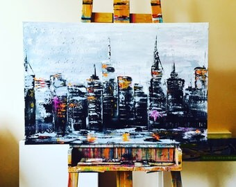 NYC Original Painting on Canvas, Textured Fine Art, Wanderlust Home Decor, Black and White, Travel USA Mementos, Collectable Fine Art