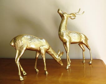 Vintage Brass Deer Figurines, Buck Doe Pair, Deer Family, Woodland Brass Animal, Reindeer Statues, Set, Very Large, Christmas decor