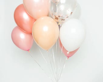Confetti Balloon Set - Prosecco - Blush, Pink, Rose Gold, White, Chrome Silver and Confetti Balloon Bouqet - Chic Party Balloons