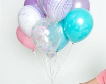 Confetti Balloon Set - Cotton Candy - Pink, Purple, Aqua Confetti Balloon Bouquet - Mermaid Party Balloons