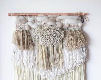 White tones handmade woven boho tapestry