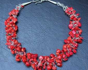 Crocheted wire red coral necklace
