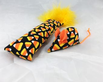 Halloween cat toys, catnip kicker and mouse, candy corn cat toys