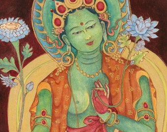 Green Tara Goddess of Compassion B  Thangka thanka Buddhist Deity Mother Goddess Tibetan art