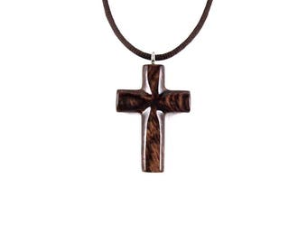 Wood Cross Pendant, Wooden Cross Necklace, Wooden Cross Pendant, Mens Cross Necklace, Cross Necklace, Christian Jewelry, Hand Carved Cross