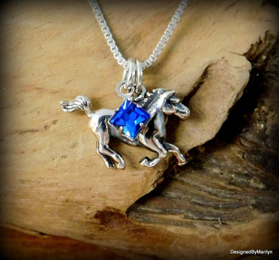Sterling silver horse necklace, equestrian jewelry, western jewelry, birthstone necklace, personalized, rodeo jewelry