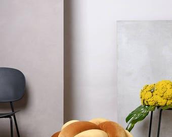 Large Knot Floor Cushion in Velvet Mustard, Knot Floor Pillow, Modern pouf, cushion, pouf ottoman, Meditation Pillow,