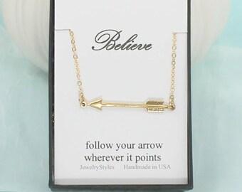 Arrow Necklace - Gold Sideways Arrow, Horizontal Arrow, Dainty Arrow Jewelry, Simple Necklace, Minimal Floating Arrow, stocking Stuffer