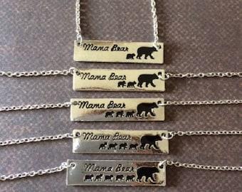 Mama Bear - Mama Bear Necklace - Mama Bear Baby Bear - Mama Bear Jewelry - Mama Bear Bar Necklace - Mama - Mama Necklace - Mama Jewelry