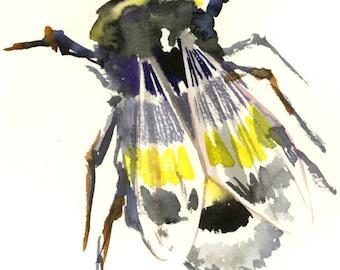 Bumblebee  Original watercolor painting, bee art, minimalist bee lover painting, bumblebee wall art