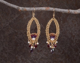 Long Gold Earrings, Chandelier Large Statement Earrings, Gemstone Jewelry, 14K Gold Filled, Red Stone Earrings,Crystals and Pearls Earrings,