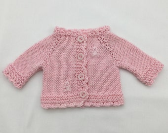 "Waldorf Doll cardigan in baby pink cotton (fits 14"" doll) - doll sweater - dolls clothes - 14 inch doll clothes."