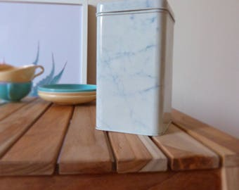 Vintage blue marble print container