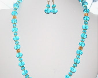 Blue Beaded Necklace, Blue and Gold Beaded Necklace, One of a Kind Blue and Gold Necklace,  Necklace and Earring Set, Women's Jewelry