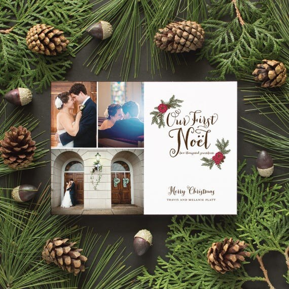 First Christmas Newlyweds Photo Card, Wedding Photos, Marriage Announcement Christmas Cards Multi Photo, Winter Wedding - Newlywed Noel
