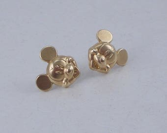 Gold Mickey Mouse Stud Earrings  4859