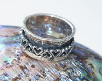 Hand Made Hammered .925 Sterling Silver Heart Spinner Ring-Custom Size